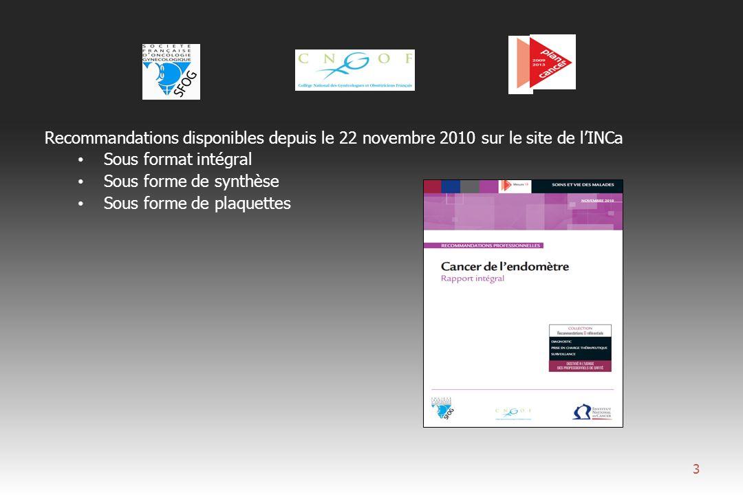 POSITION DU PROBLEME : - Cancer gynécologique le plus fréquent (13,6/100.000 femmes) - 3 ème cause de décès par cancer (1.200 morts/an en France, après le cancer du sein et le cancer colorectal) - Cancer de «bon» pronostic.
