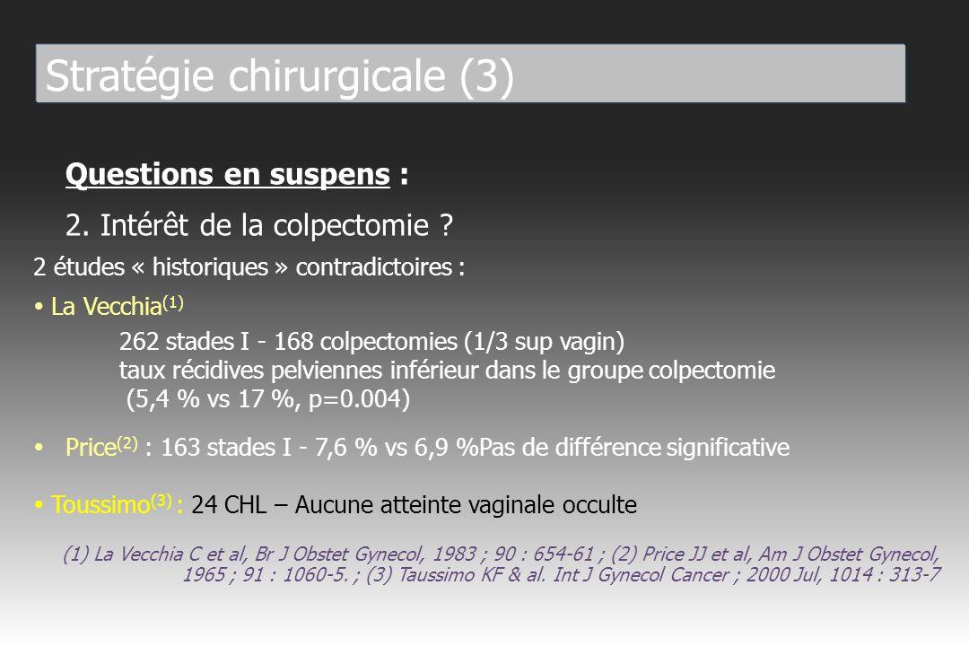 Questions en suspens : 3.Intérêt de la lymphadénectomie pelvienne .