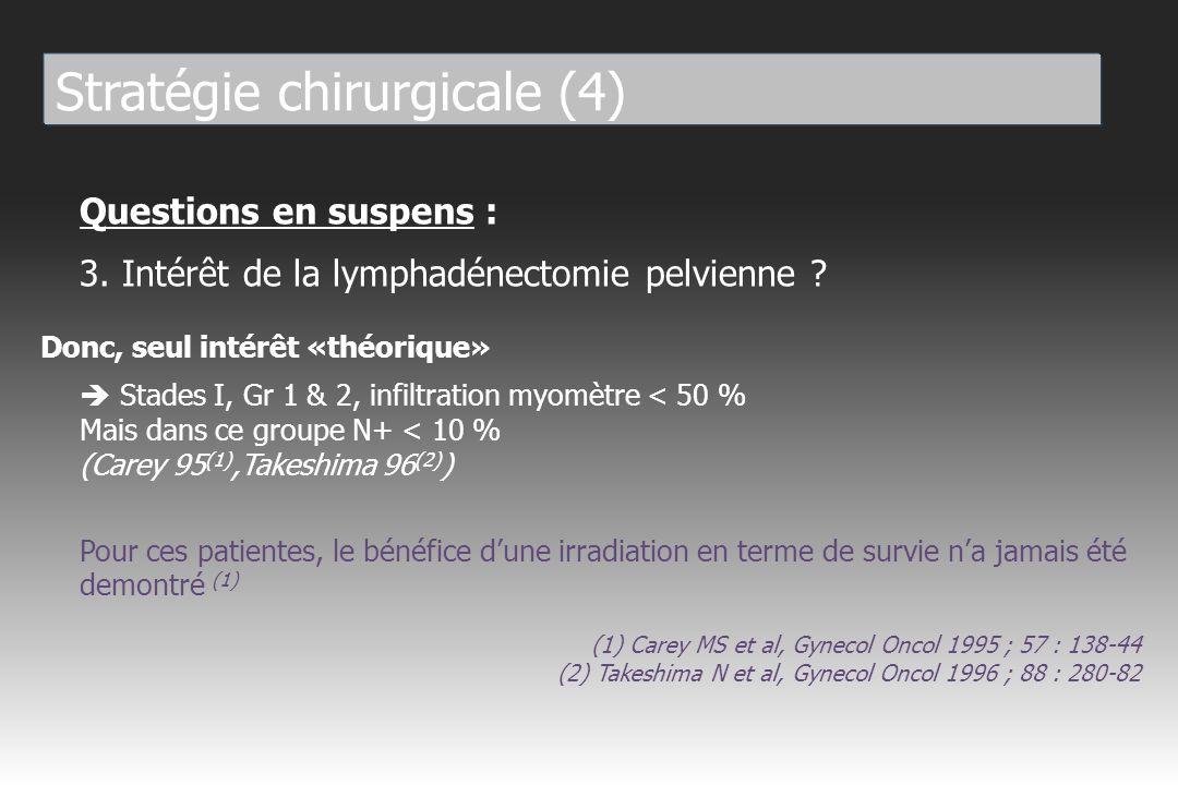 Stade I 10 % (extrêmes : 4,7 % - 13 %) Stade II 35 % (extrêmes : 18,8 % - 44,8 %) Complications des lymphadénectomies Mortalité < 1 % (embolie pulmonaire) Morbidité 8-9 % (Larson 92, Descamps 95) - Per-opératoire : hémorragies, vessie, uretère - Post-opératoire : fistules, etc...