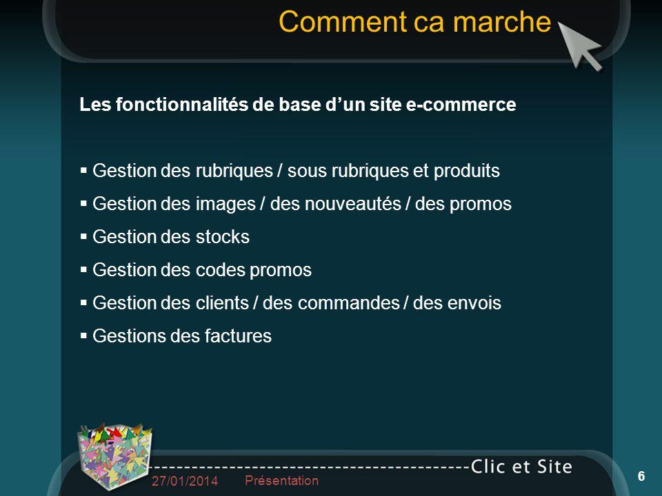 Les fonctionnalités de base dun site e-commerce Gestion des rubriques / sous rubriques et produits Gestion des images / des nouveautés / des promos Ge