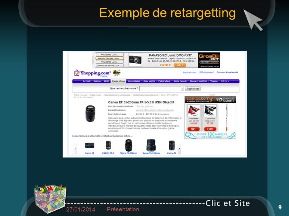 Exemple de retargetting 27/01/2014 Présentation 9