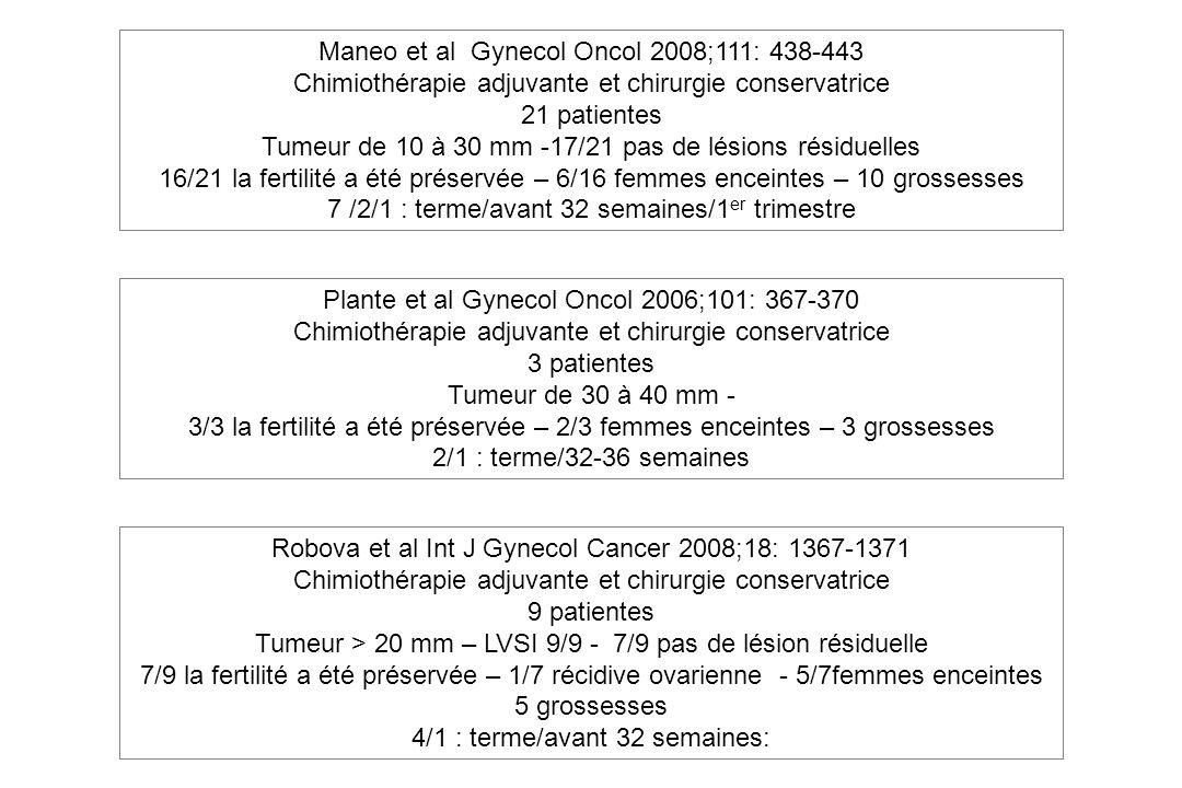 Maneo et al Gynecol Oncol 2008;111: 438-443 Chimiothérapie adjuvante et chirurgie conservatrice 21 patientes Tumeur de 10 à 30 mm -17/21 pas de lésion