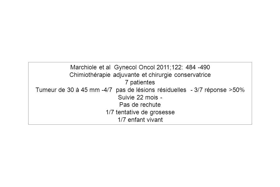 Marchiole et al Gynecol Oncol 2011;122: 484 -490 Chimiothérapie adjuvante et chirurgie conservatrice 7 patientes Tumeur de 30 à 45 mm -4/7 pas de lési
