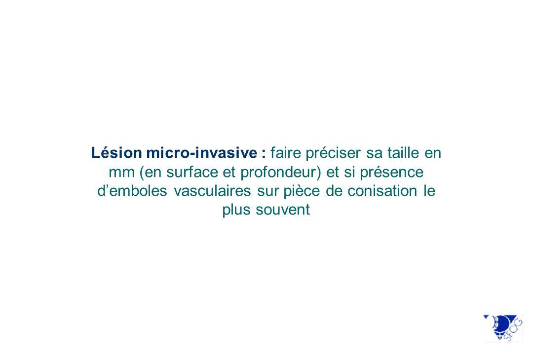 Kinney et al 1994 83 patientes (1) <2 cm (2) pas de LVSI 0 infiltration du paramètre 97,6% de survie à 5 ans Covens 2002 536 patientes (1)T < 2 cm (2) Invasion < 10 mm (3) N0 0.6 % infiltration du paramètre 96 % de survie sans récidive Stegeman 2007 103 patientes, non ménopausées, (1) < 2 cm, (2) <10 mm invasion, (3) N0 1.96 % infiltration des paramètres 2 LVSI+/2 infiltrations Frumovitz 2009 125 patientes (1) < 2 cm, (2) LVSI -, (3) Formes histologiques à bas risques 0% dinfiltrations des paramètres Wright 2007 270 patientes (1) < 2 cm, (2) <10 mm invasion, (3) N0 0.4 % infiltration des paramètres