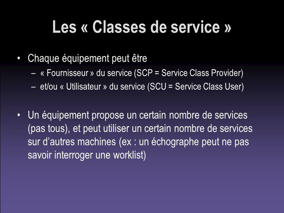 Les « Classes de service » Chaque équipement peut être –« Fournisseur » du service (SCP = Service Class Provider) –et/ou « Utilisateur » du service (S