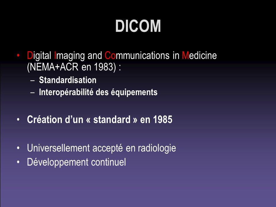 DICOM 3.0 1 ) Format dimage –Toutes les machines dimagerie médicale se « DICOMisent » –Multiformat ; multimédia (son, video, encaps., CR) 2 ) Protocole déchange de données –Un peu lourd mais « passe partout » 3 ) Formalisme des « Conformance Statements »