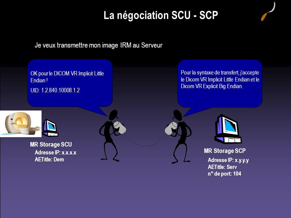 La négociation SCU - SCP Je veux transmettre mon image IRM au Serveur MR Storage SCU Adresse IP: x.x.x.x AETitle: Dem Adresse IP: x.y.y.y AETitle: Ser