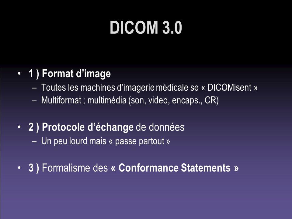 DICOM 3.0 1 ) Format dimage –Toutes les machines dimagerie médicale se « DICOMisent » –Multiformat ; multimédia (son, video, encaps., CR) 2 ) Protocol