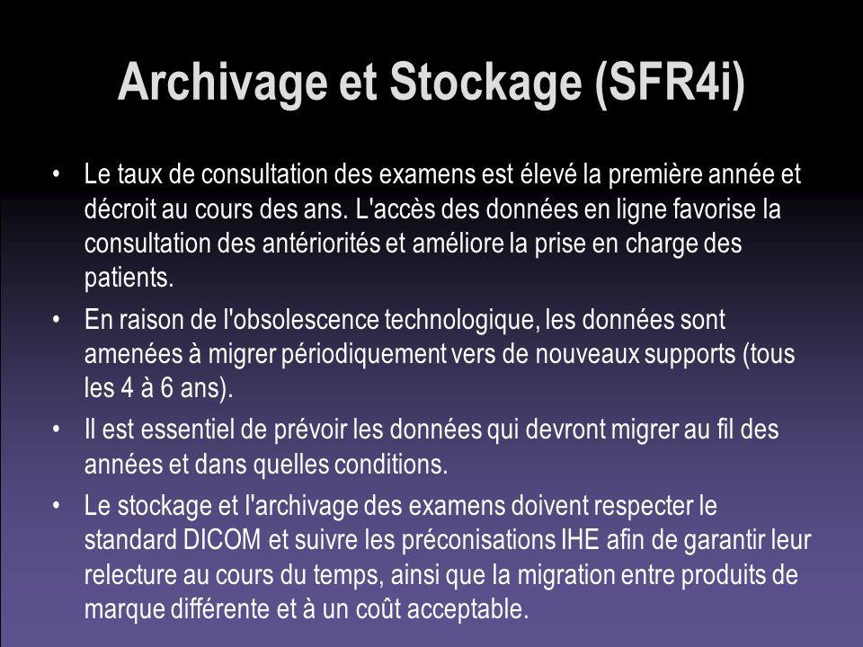 Archivage et Stockage (SFR4i) Le taux de consultation des examens est élevé la première année et décroit au cours des ans. L'accès des données en lign