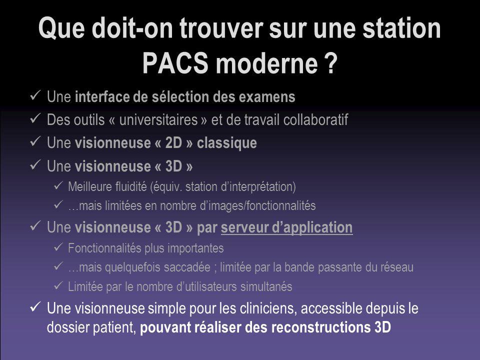 Que doit-on trouver sur une station PACS moderne ? Une interface de sélection des examens Des outils « universitaires » et de travail collaboratif Une