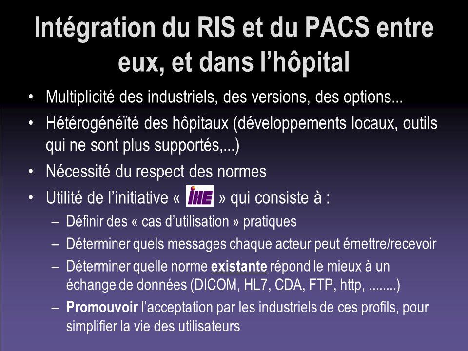Intégration du RIS et du PACS entre eux, et dans lhôpital Multiplicité des industriels, des versions, des options... Hétérogénéïté des hôpitaux (dével