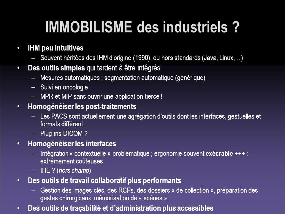 IMMOBILISME des industriels ? IHM peu intuitives –Souvent héritées des IHM dorigine (1990), ou hors standards (Java, Linux,…) Des outils simples qui t