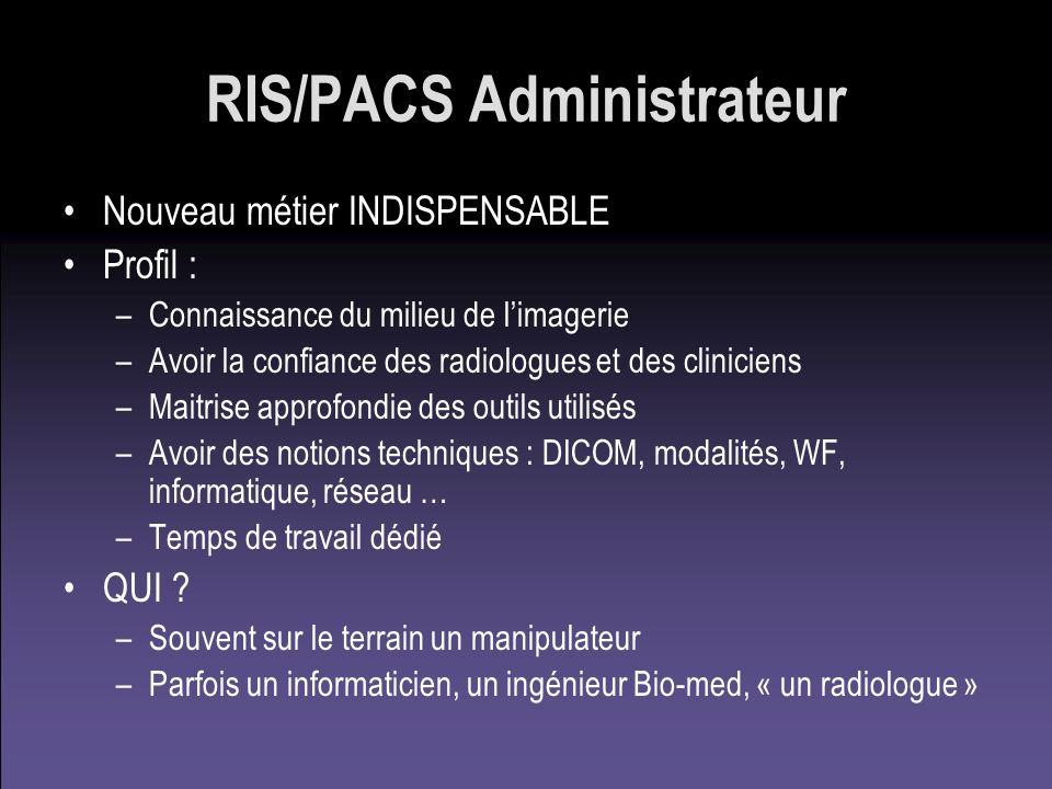 RIS/PACS Administrateur Nouveau métier INDISPENSABLE Profil : –Connaissance du milieu de limagerie –Avoir la confiance des radiologues et des clinicie