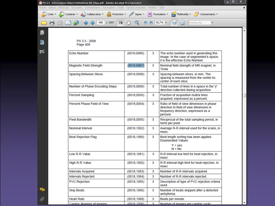 Impact du RIS sur le quotidien Implique tous les acteurs dun service de radiologie –Hôtesses daccueil –Manipulateurs radio –Médecins –Secrétaires –Cadres Impose des règles de fonctionnement à tous –Chacun prend sa part dans le « workflow » –Dabord une contrainte, puis devient rapidement indispensable (dictée vocale, accès rapide aux CR...) Nest pas accessible au clinicien –CR obtenus via le SIH –Images vues via le SIH qui accède au PACS