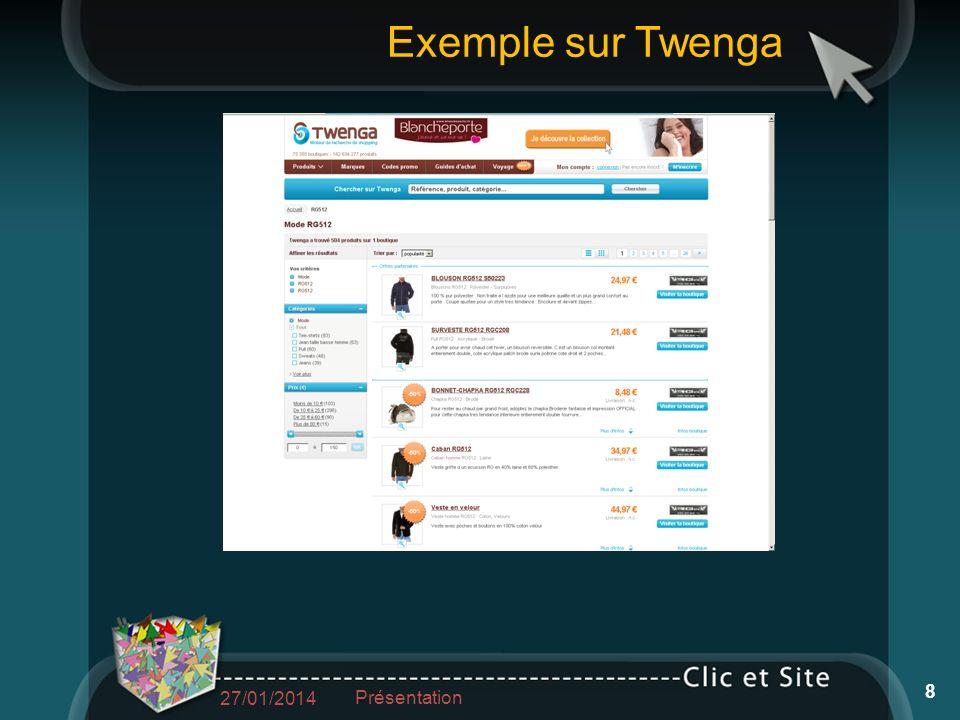 Exemple sur Twenga 27/01/2014 Présentation 8