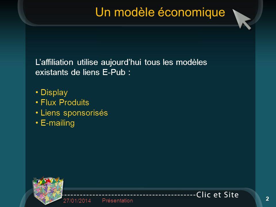Laffiliation utilise aujourdhui tous les modèles existants de liens E-Pub : Display Flux Produits Liens sponsorisés E-mailing Un modèle économique 27/01/2014 Présentation 2