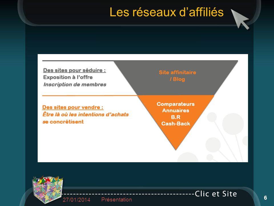 Les réseaux daffiliés 27/01/2014 Présentation 6