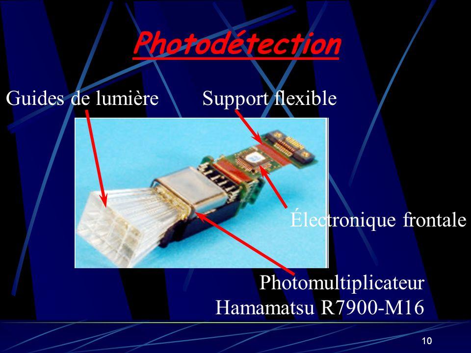 10 Photodétection Guides de lumière Photomultiplicateur Hamamatsu R7900-M16 Électronique frontale Support flexible