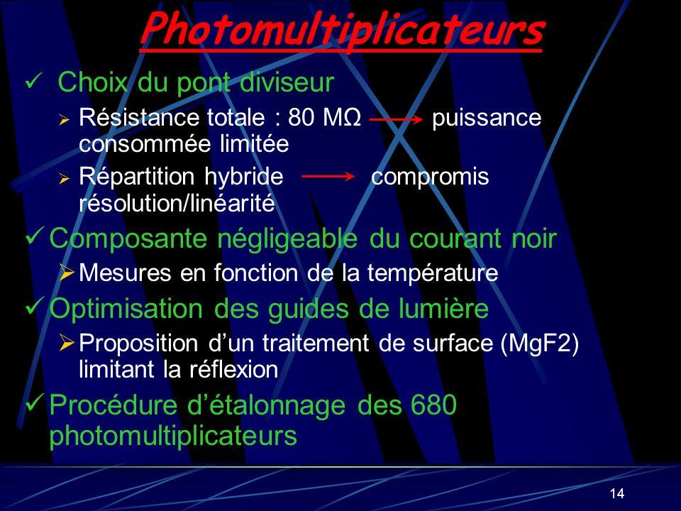 14 Photomultiplicateurs Choix du pont diviseur Résistance totale : 80 MΩ puissance consommée limitée Répartition hybride compromis résolution/linéarit