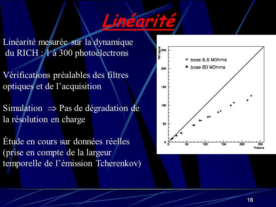 16 Linéarité Linéarité mesurée sur la dynamique du RICH : 1 à 300 photoélectrons Vérifications préalables des filtres optiques et de lacquisition Simu