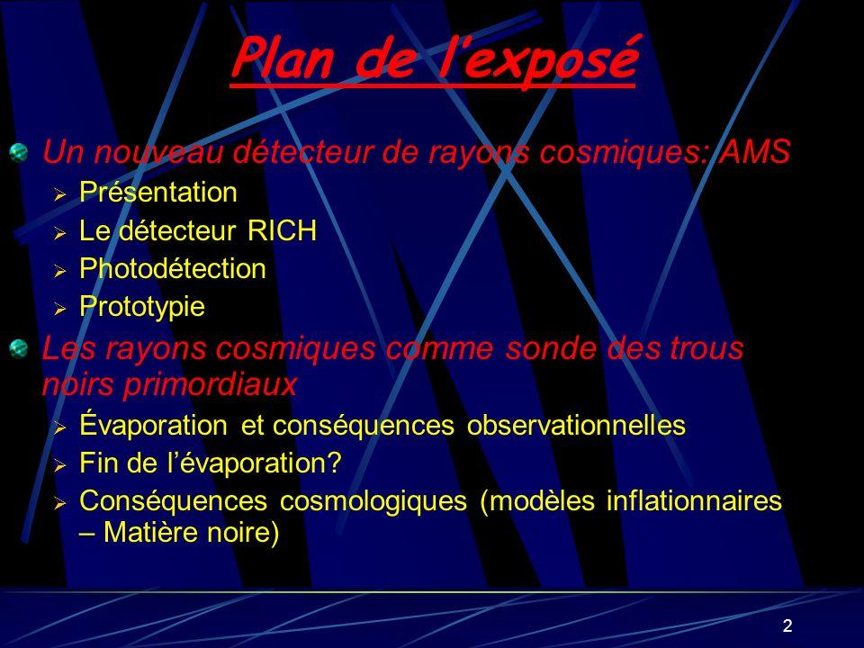 2 Plan de lexposé Un nouveau détecteur de rayons cosmiques: AMS Présentation Le détecteur RICH Photodétection Prototypie Les rayons cosmiques comme so