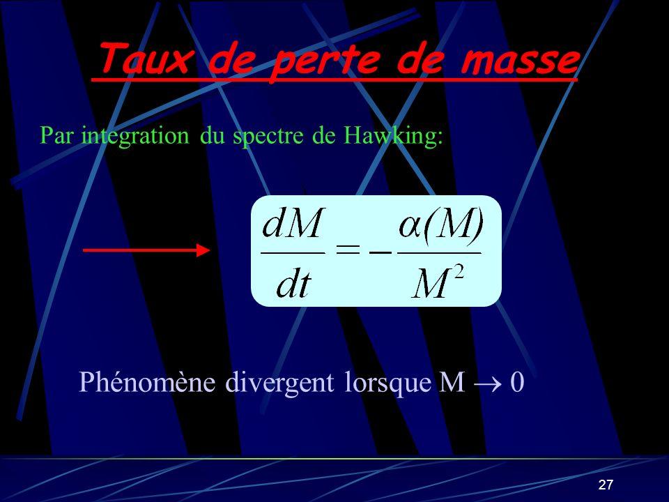 27 Taux de perte de masse Par integration du spectre de Hawking: Phénomène divergent lorsque M 0