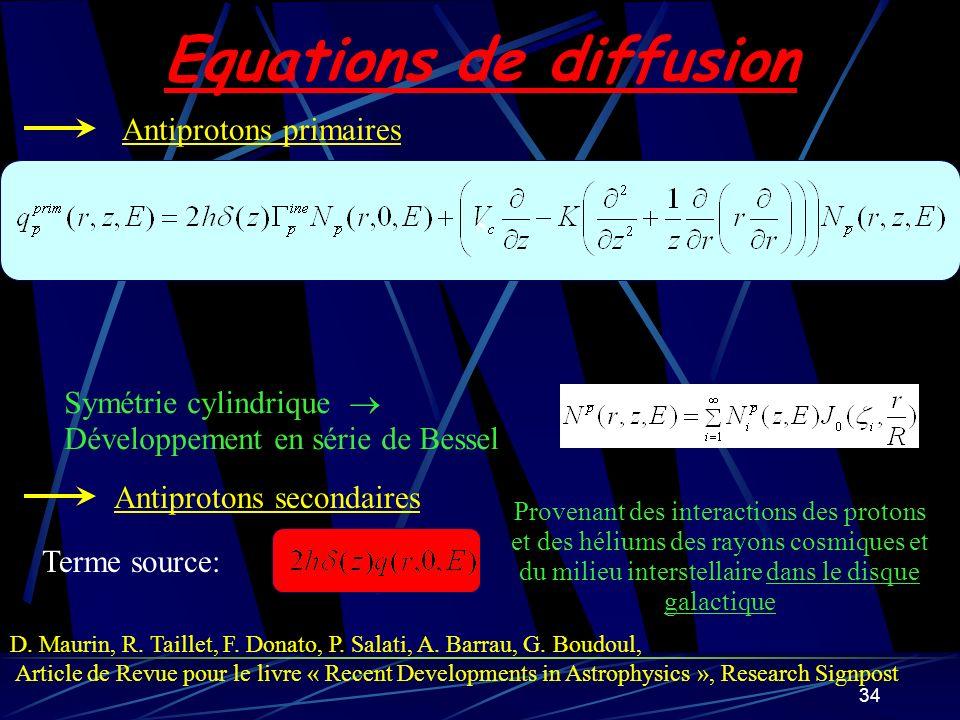 34 s Equations de diffusion Symétrie cylindrique Développement en série de Bessel Antiprotons primaires Antiprotons secondaires Terme source: Provenan