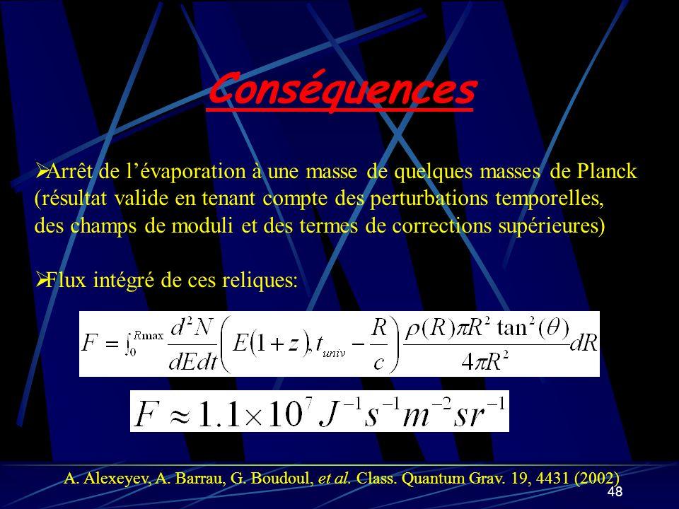 48 Conséquences Arrêt de lévaporation à une masse de quelques masses de Planck (résultat valide en tenant compte des perturbations temporelles, des ch