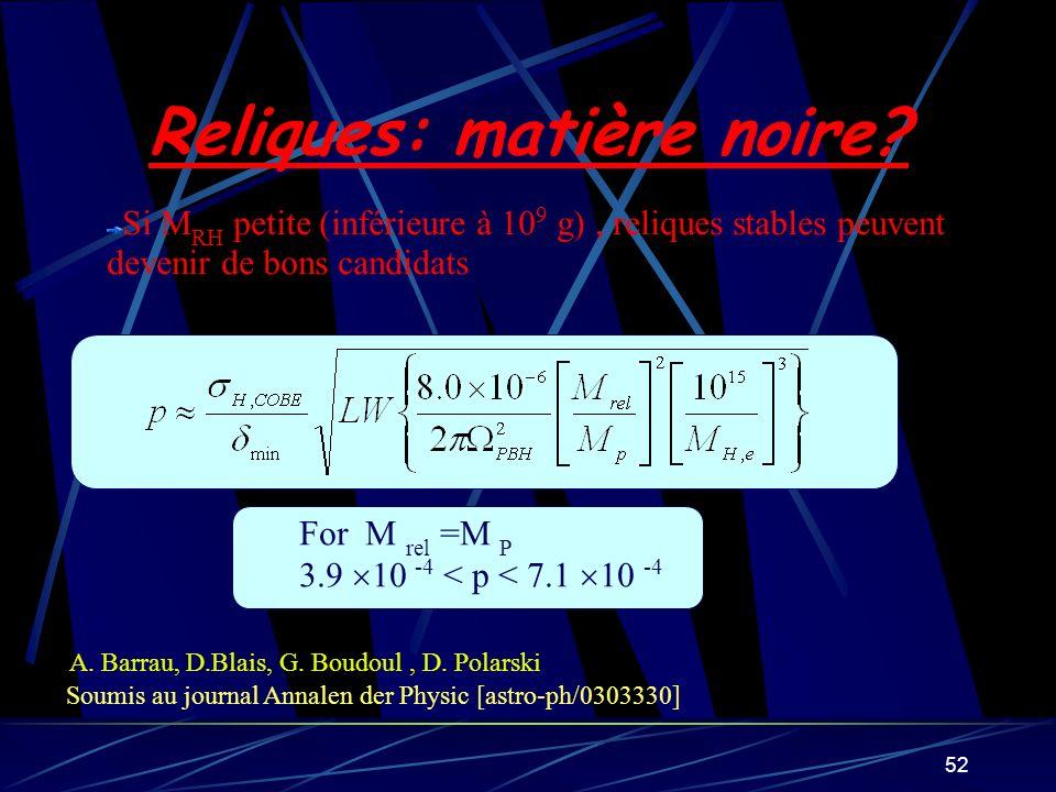 52 Si M RH petite (inférieure à 10 9 g), reliques stables peuvent devenir de bons candidats A. Barrau, D.Blais, G. Boudoul, D. Polarski Soumis au jour