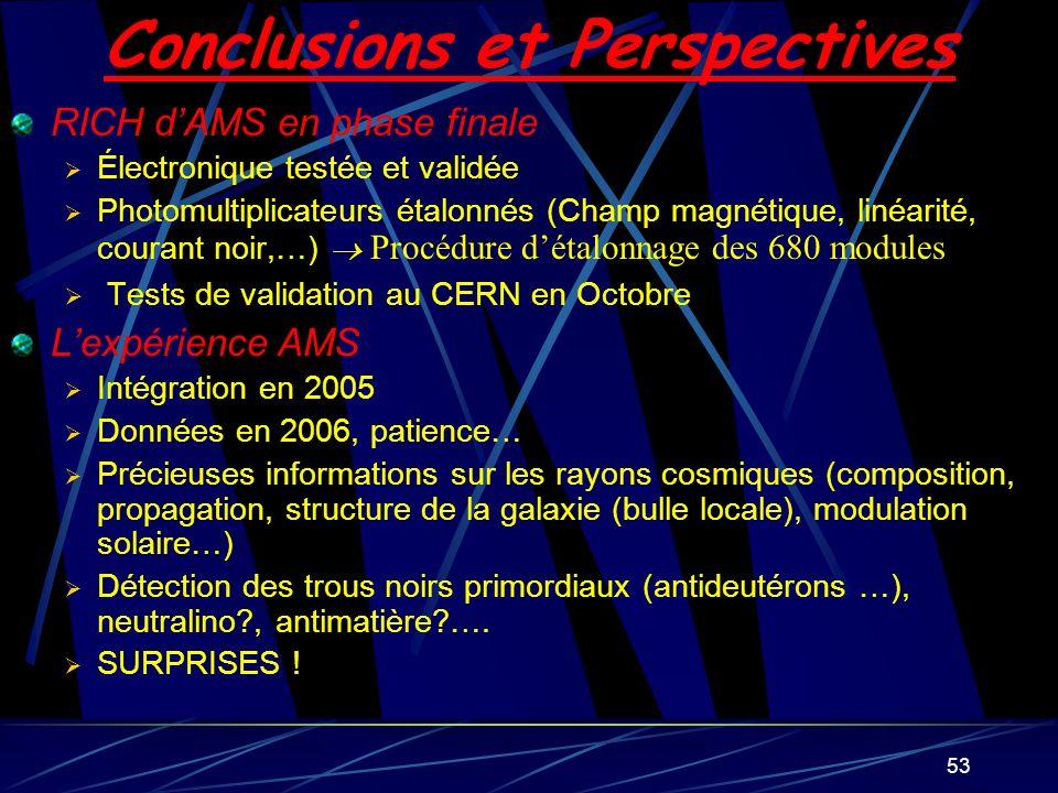 53 Conclusions et Perspectives RICH dAMS en phase finale Électronique testée et validée Photomultiplicateurs étalonnés (Champ magnétique, linéarité, c