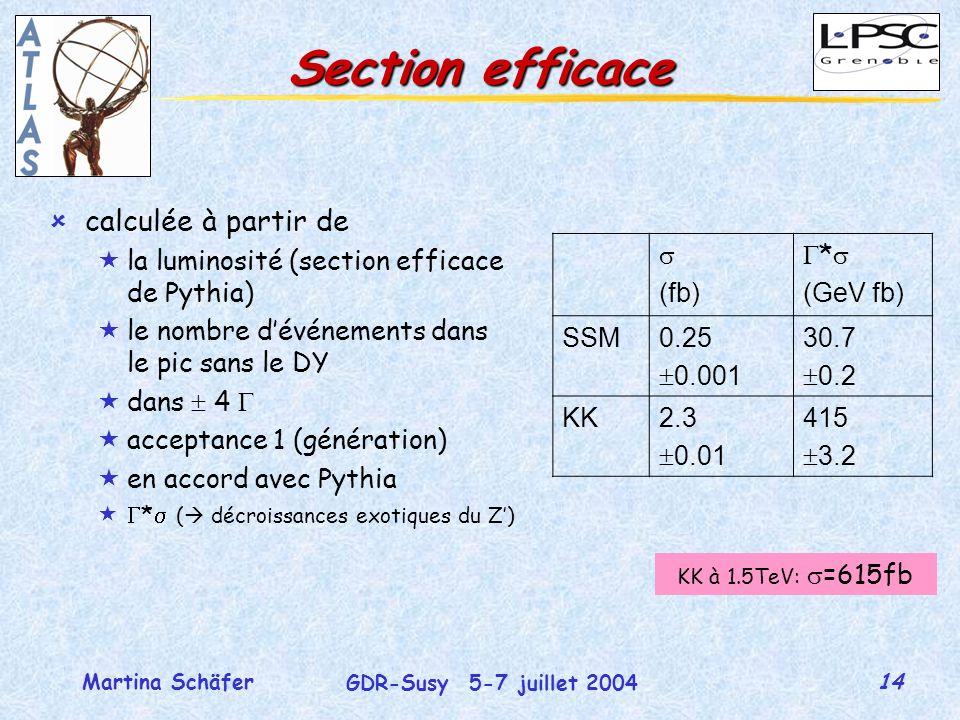 14 GDR-Susy 5-7 juillet 2004 Martina Schäfer Section efficace ûcalculée à partir de «la luminosité (section efficace de Pythia) «le nombre dévénements dans le pic sans le DY «dans 4 «acceptance 1 (génération) «en accord avec Pythia « * ( décroissances exotiques du Z) (fb) * (GeV fb) SSM0.25 0.001 30.7 0.2 KK2.3 0.01 415 3.2 KK à 1.5TeV: =615fb