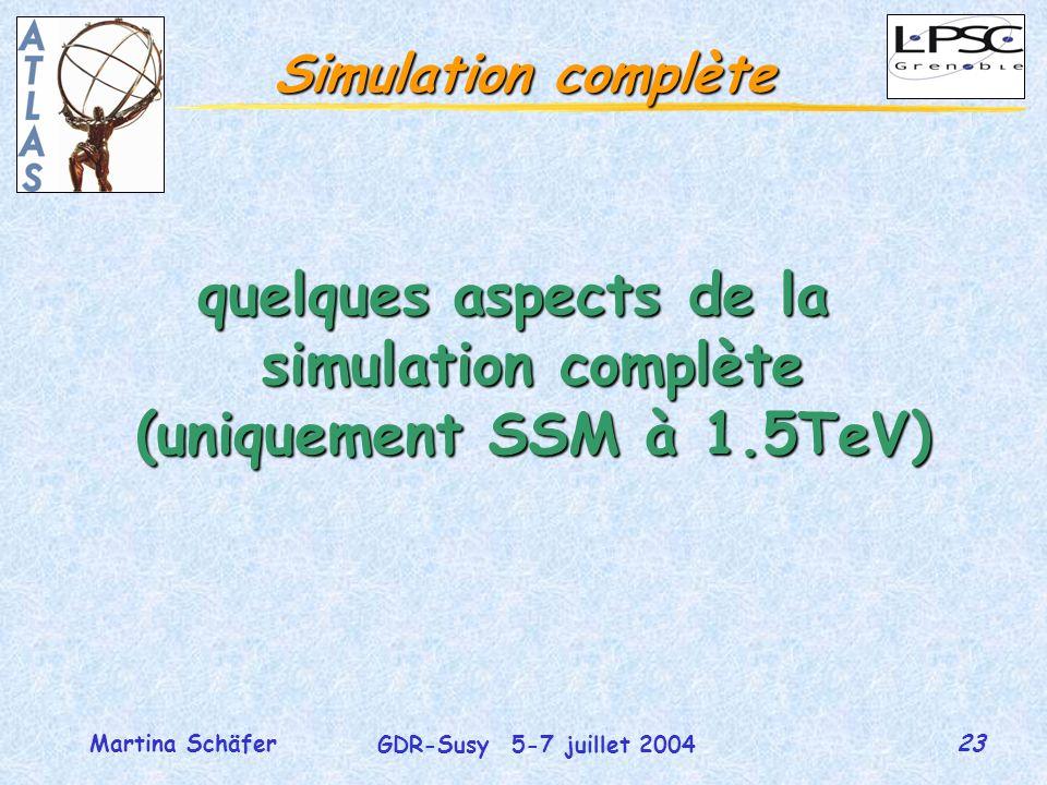 23 GDR-Susy 5-7 juillet 2004 Martina Schäfer Simulation complète quelques aspects de la simulation complète (uniquement SSM à 1.5TeV)