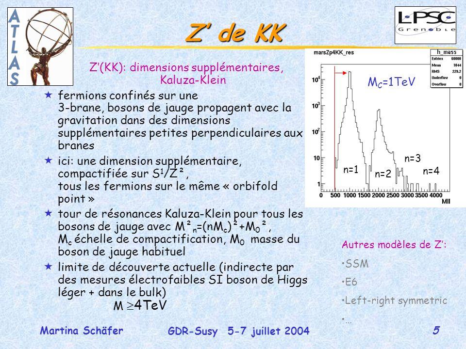 5 GDR-Susy 5-7 juillet 2004 Martina Schäfer Z de KK Z(KK): dimensions supplémentaires, Kaluza-Klein «fermions confinés sur une 3-brane, bosons de jauge propagent avec la gravitation dans des dimensions supplémentaires petites perpendiculaires aux branes «ici: une dimension supplémentaire, compactifiée sur S 1 /Z², tous les fermions sur le même « orbifold point » «tour de résonances Kaluza-Klein pour tous les bosons de jauge avec M² n =(nM c )²+M 0 ², M c échelle de compactification, M 0 masse du boson de jauge habituel «limite de découverte actuelle (indirecte par des mesures électrofaibles SI boson de Higgs léger + dans le bulk) M 4TeV n=1 n=2 n=3 n=4 M C =1TeV Autres modèles de Z: SSM E6 Left-right symmetric …