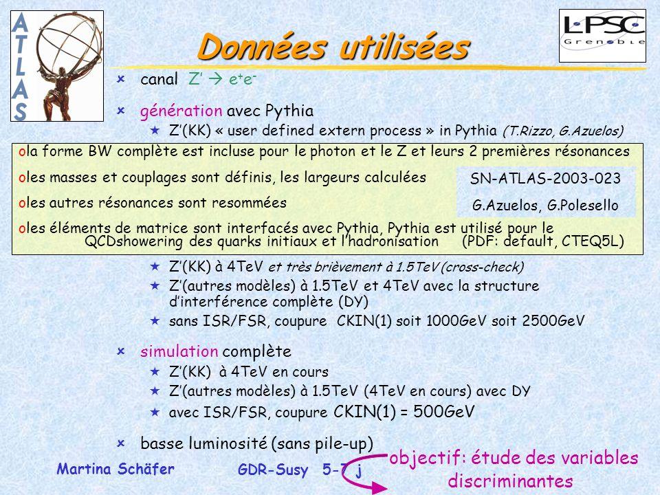 6 GDR-Susy 5-7 juillet 2004 Martina Schäfer ola forme BW complète est incluse pour le photon et le Z et leurs 2 premières résonances oles masses et couplages sont définis, les largeurs calculées oles autres résonances sont resommées oles éléments de matrice sont interfacés avec Pythia, Pythia est utilisé pour le QCDshowering des quarks initiaux et lhadronisation (PDF: default, CTEQ5L) Données utilisées objectif: étude des variables discriminantes ûcanal Z e + e - ûgénération avec Pythia «Z(KK) « user defined extern process » in Pythia (T.Rizzo, G.Azuelos) «Z(KK) à 4TeV et très brièvement à 1.5TeV (cross-check) «Z(autres modèles) à 1.5TeV et 4TeV avec la structure dinterférence complète (DY) «sans ISR/FSR, coupure CKIN(1) soit 1000GeV soit 2500GeV ûsimulation complète «Z(KK) à 4TeV en cours «Z(autres modèles) à 1.5TeV (4TeV en cours) avec DY «avec ISR/FSR, coupure CKIN(1) = 500GeV ûbasse luminosité (sans pile-up) SN-ATLAS-2003-023 G.Azuelos, G.Polesello