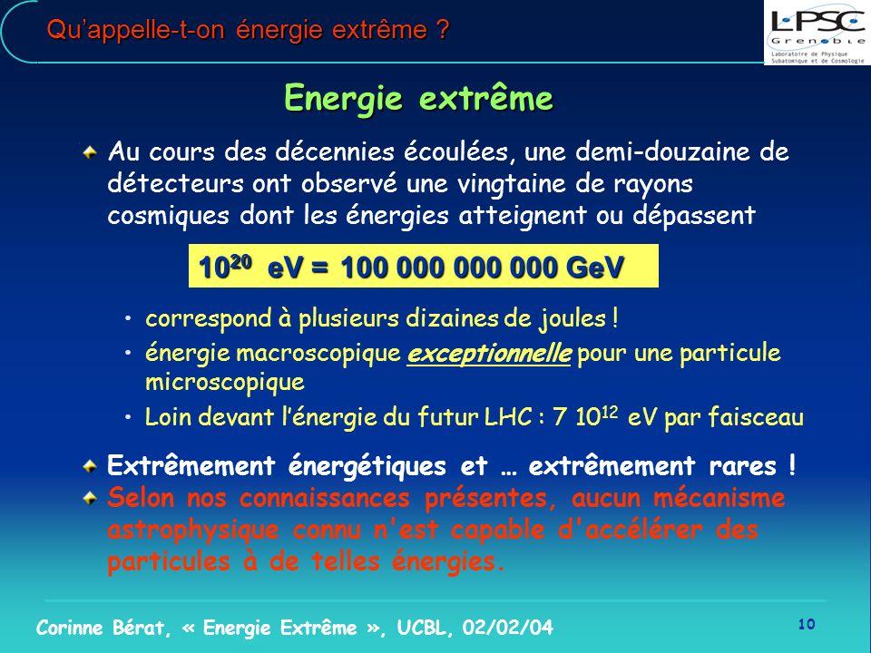 10 Corinne Bérat, « Energie Extrême », UCBL, 02/02/04 Quappelle-t-on énergie extrême ? Energie extrême Au cours des décennies écoulées, une demi-douza