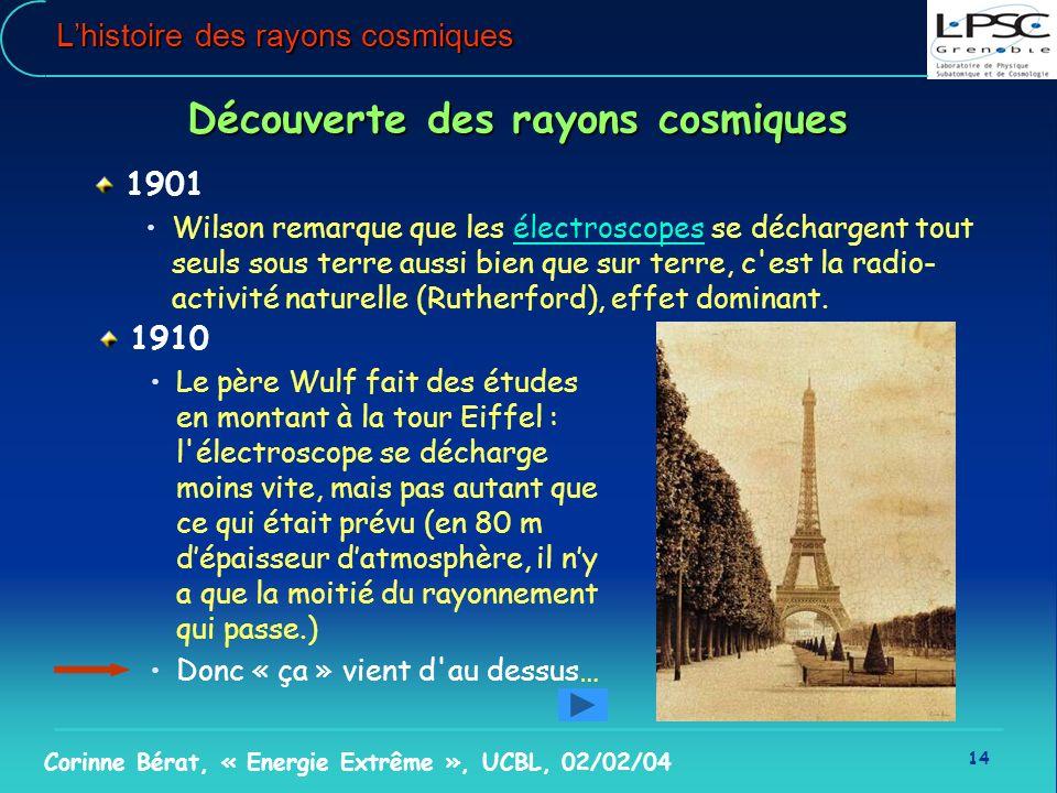 14 Corinne Bérat, « Energie Extrême », UCBL, 02/02/04 Lhistoire des rayons cosmiques Découverte des rayons cosmiques 1901 Wilson remarque que les élec