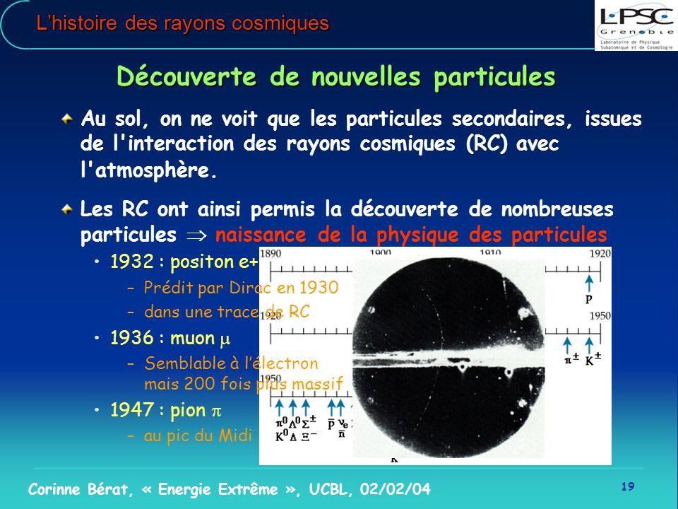 19 Corinne Bérat, « Energie Extrême », UCBL, 02/02/04 Lhistoire des rayons cosmiques Découverte de nouvelles particules Au sol, on ne voit que les par