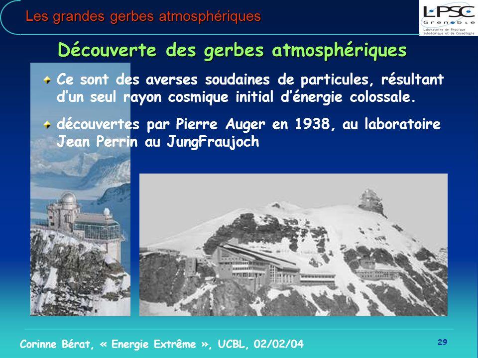 29 Corinne Bérat, « Energie Extrême », UCBL, 02/02/04 Les grandes gerbes atmosphériques Découverte des gerbes atmosphériques Ce sont des averses souda