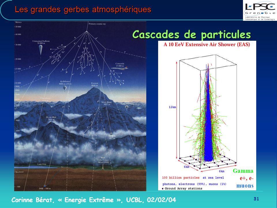 31 Corinne Bérat, « Energie Extrême », UCBL, 02/02/04 Les grandes gerbes atmosphériques Cascades de particules Gamma e+, e- muons