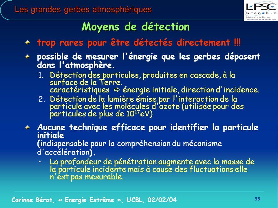 33 Corinne Bérat, « Energie Extrême », UCBL, 02/02/04 Les grandes gerbes atmosphériques Moyens de détection trop rares pour être détectés directement