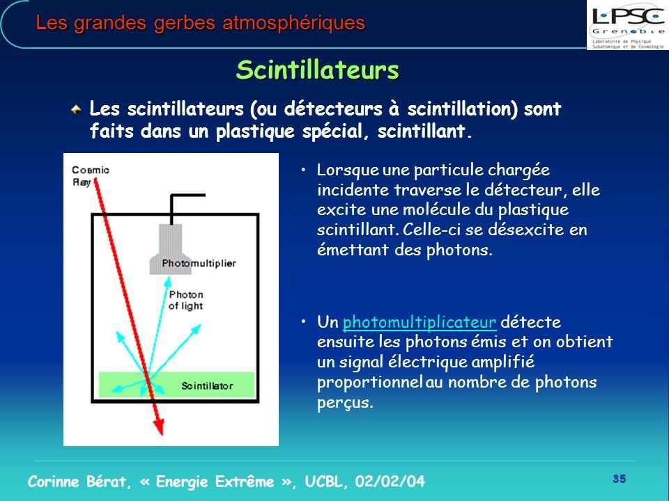 35 Corinne Bérat, « Energie Extrême », UCBL, 02/02/04 Les grandes gerbes atmosphériques Scintillateurs Les scintillateurs (ou détecteurs à scintillati