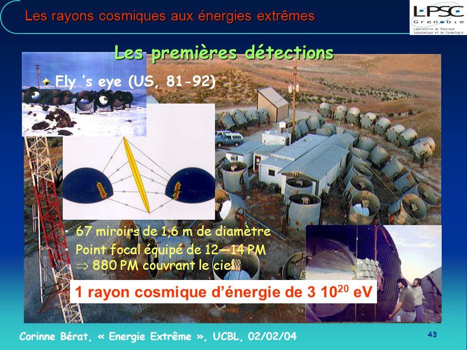 43 Corinne Bérat, « Energie Extrême », UCBL, 02/02/04 Les rayons cosmiques aux énergies extrêmes 1 rayon cosmique dénergie de 3 10 20 eV Les premières