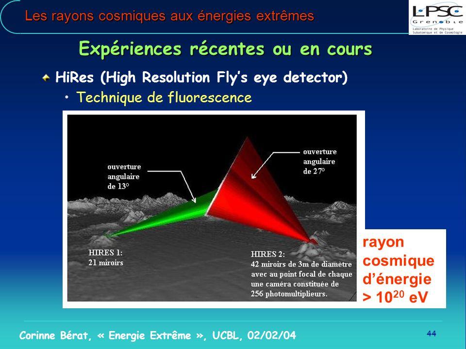 44 Corinne Bérat, « Energie Extrême », UCBL, 02/02/04 Les rayons cosmiques aux énergies extrêmes Expériences récentes ou en cours HiRes (High Resoluti