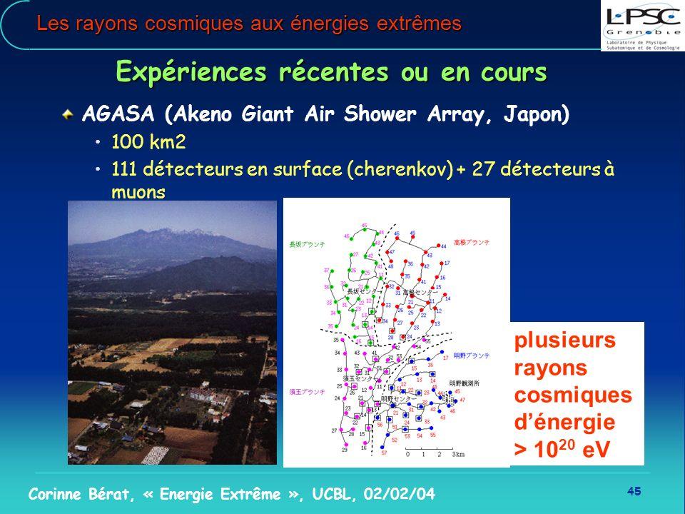 45 Corinne Bérat, « Energie Extrême », UCBL, 02/02/04 Les rayons cosmiques aux énergies extrêmes plusieurs rayons cosmiques dénergie > 10 20 eV Expéri