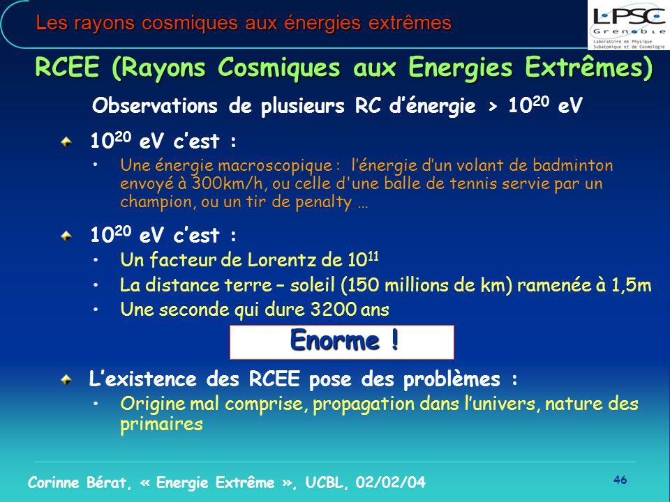 46 Corinne Bérat, « Energie Extrême », UCBL, 02/02/04 Les rayons cosmiques aux énergies extrêmes RCEE (Rayons Cosmiques aux Energies Extrêmes) Observa
