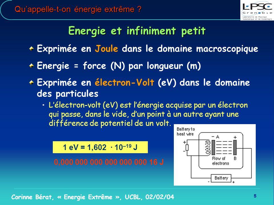 5 Corinne Bérat, « Energie Extrême », UCBL, 02/02/04 Quappelle-t-on énergie extrême ? Energie et infiniment petit Exprimée en Joule dans le domaine ma