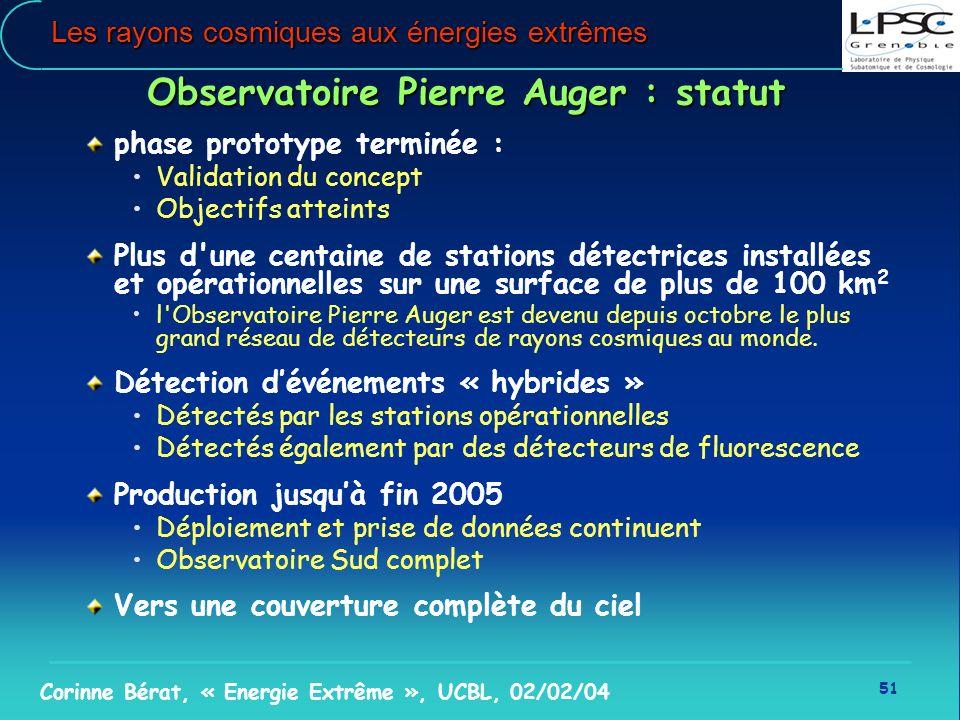 51 Corinne Bérat, « Energie Extrême », UCBL, 02/02/04 Les rayons cosmiques aux énergies extrêmes Observatoire Pierre Auger : statut phase prototype te