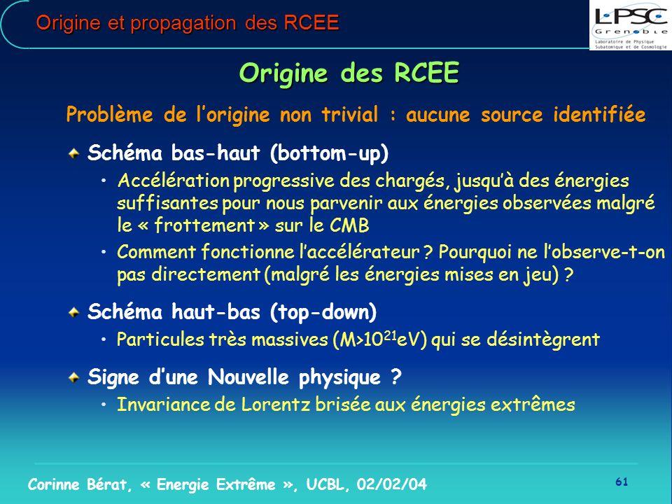 61 Corinne Bérat, « Energie Extrême », UCBL, 02/02/04 Origine et propagation des RCEE Origine des RCEE Problème de lorigine non trivial : aucune sourc