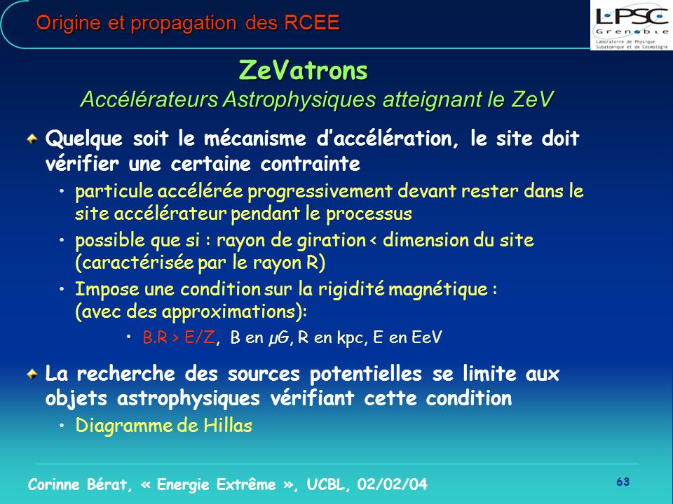 63 Corinne Bérat, « Energie Extrême », UCBL, 02/02/04 Origine et propagation des RCEE ZeVatrons Accélérateurs Astrophysiques atteignant le ZeV Quelque