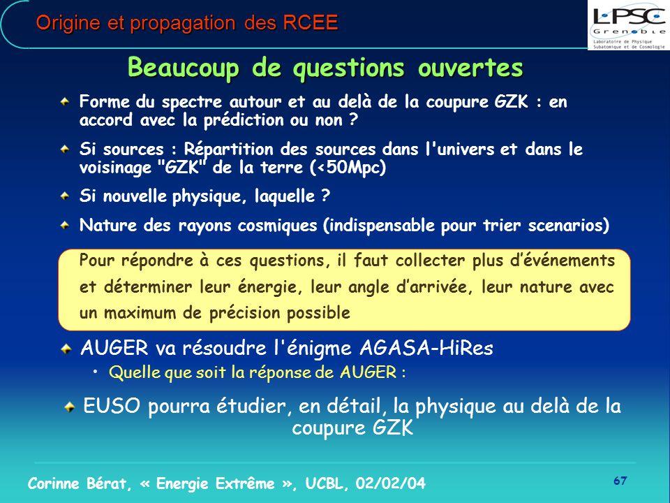 67 Corinne Bérat, « Energie Extrême », UCBL, 02/02/04 Beaucoup de questions ouvertes Forme du spectre autour et au delà de la coupure GZK : en accord